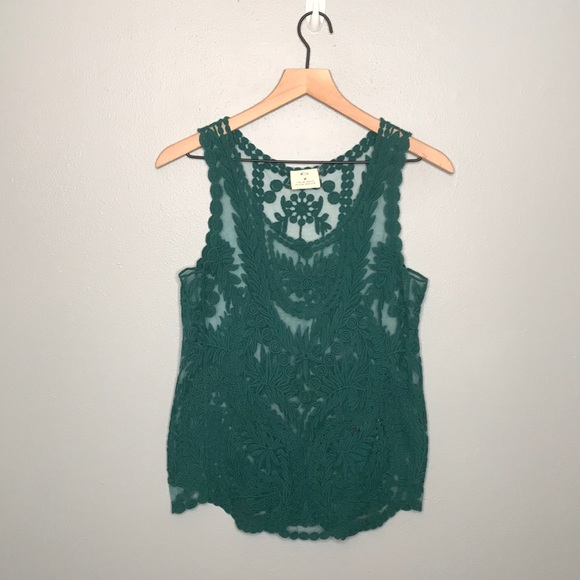 Pins & Needles Anthro. green lace tank top sz M
